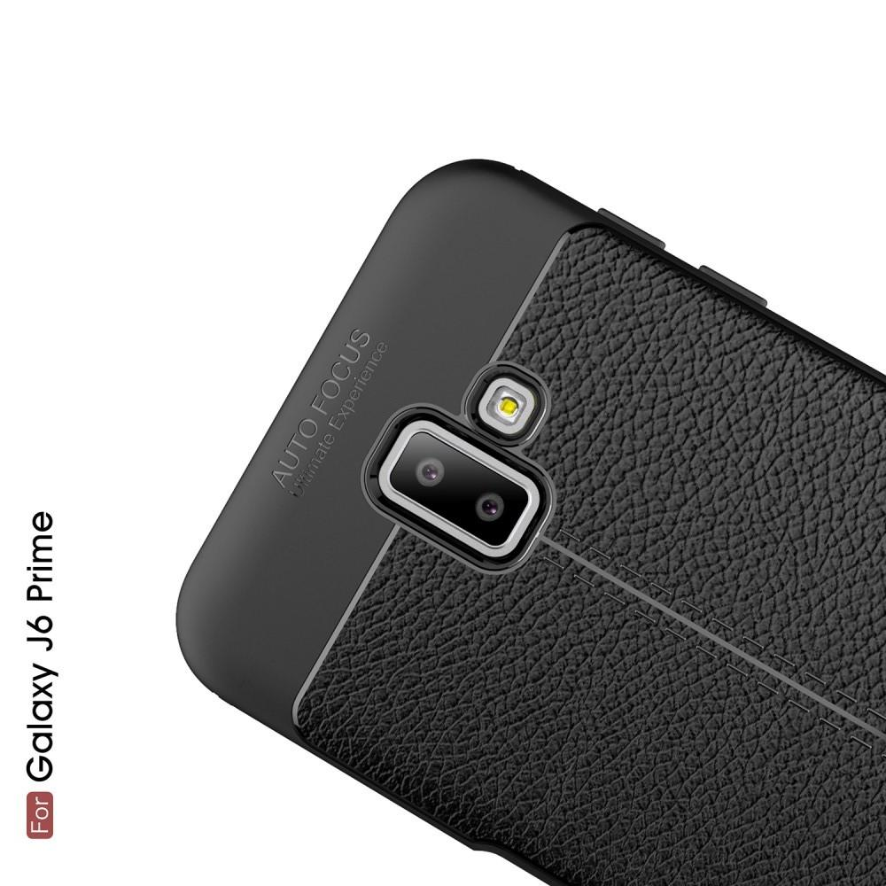 Litchi Grain Leather Силиконовый Накладка Чехол для Samsung Galaxy J6+ 2018 SM-J610F с Текстурой Кожа Черный
