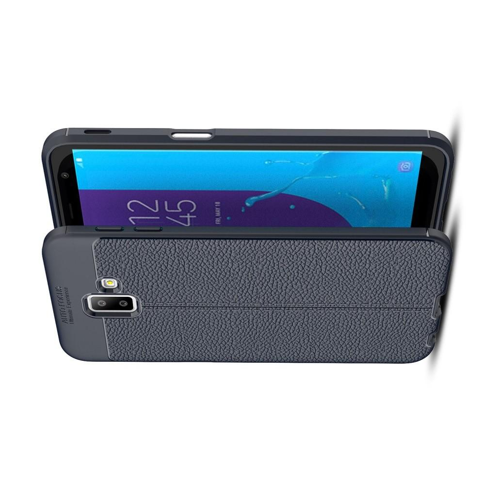 Litchi Grain Leather Силиконовый Накладка Чехол для Samsung Galaxy J6+ 2018 SM-J610F с Текстурой Кожа Синий