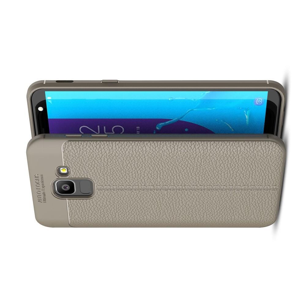 Litchi Grain Leather Силиконовый Накладка Чехол для Samsung Galaxy J6 SM-J600 с Текстурой Кожа Серый