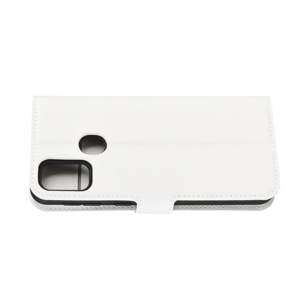 Litchi Grain Leather Силиконовый Накладка Чехол для Samsung Galaxy M30s с Текстурой Кожа Белый