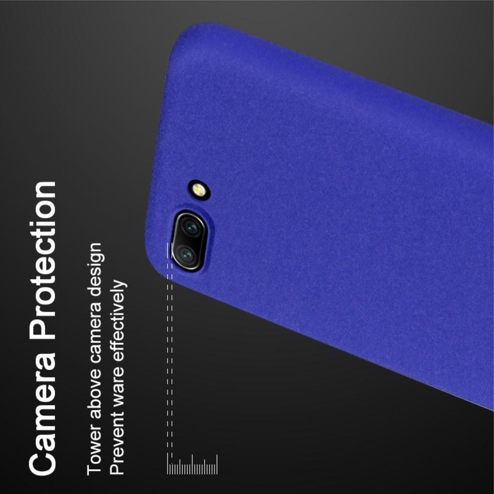 Матовый Пластиковый IMAK Finger чехол для Huawei Honor 10 С Держателем Кольцом Подставкой Синий + Защитная пленка для экрана
