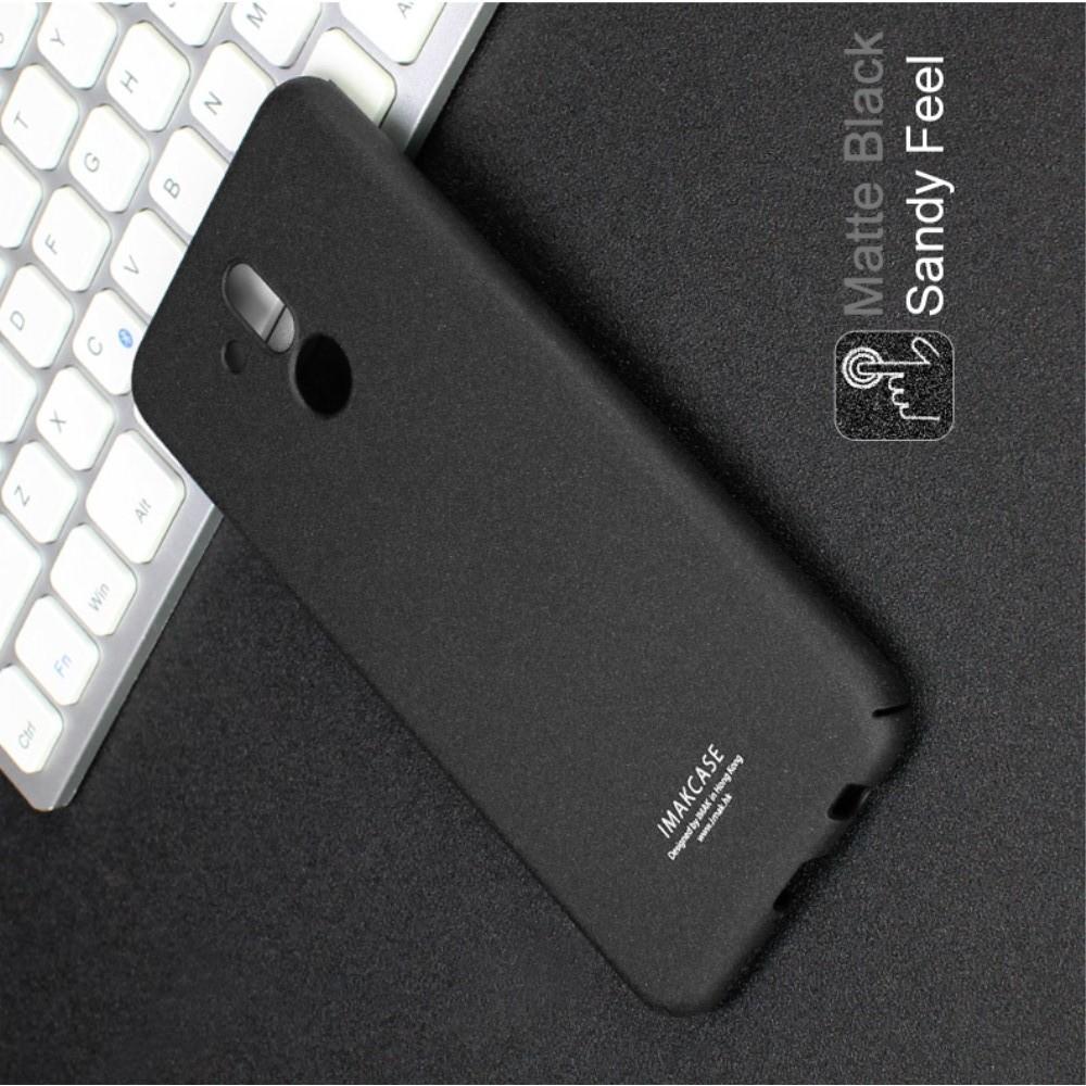 Матовый Пластиковый IMAK Finger чехол для Huawei Mate 20 Lite С Держателем Кольцом Подставкой Песочно-Черный + Защитная пленка для экрана