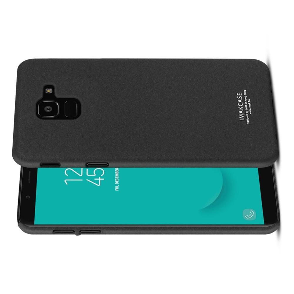Матовый Пластиковый IMAK Finger чехол для Samsung Galaxy J6 SM-J600 С Держателем Кольцом Подставкой Песочно-Черный + Защитная пленка для экрана