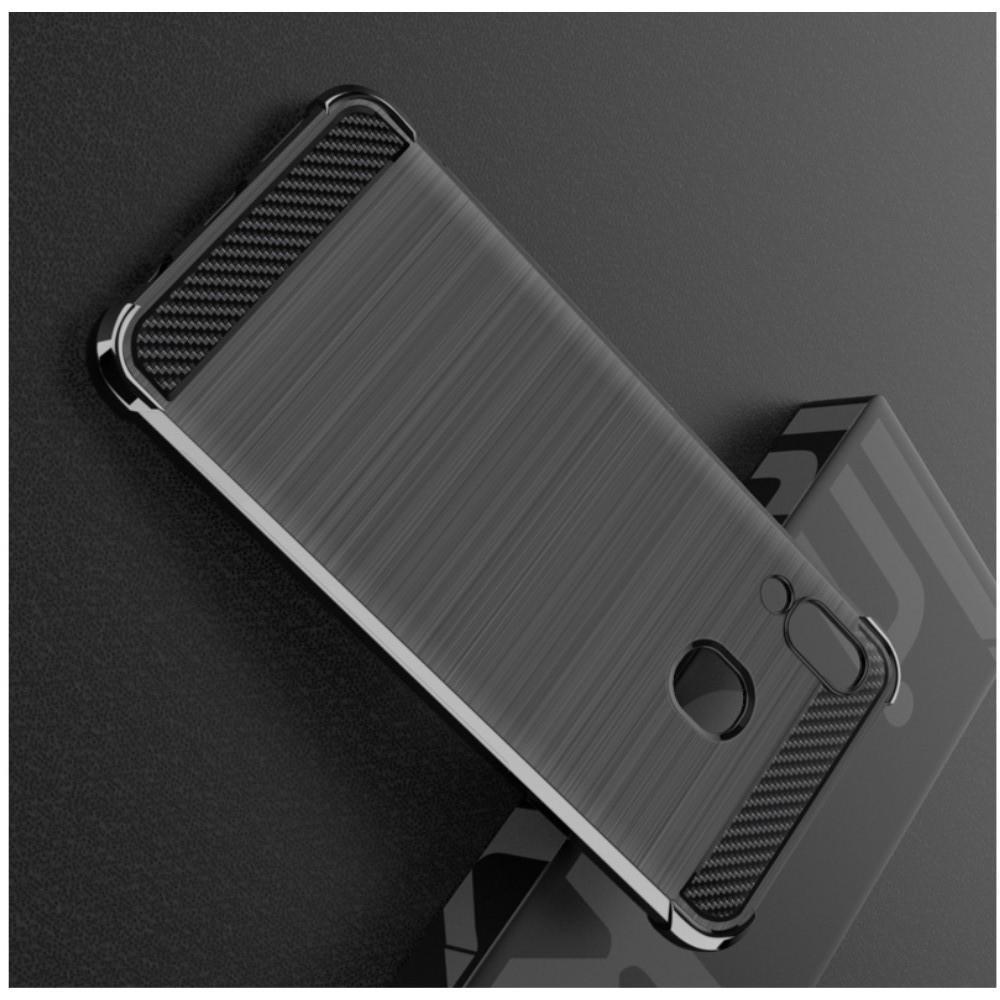 Матовый Силиконовый IMAK Vega Карбоновая Текстура Чехол c Противоударными Углами для Samsung Galaxy A20e черный