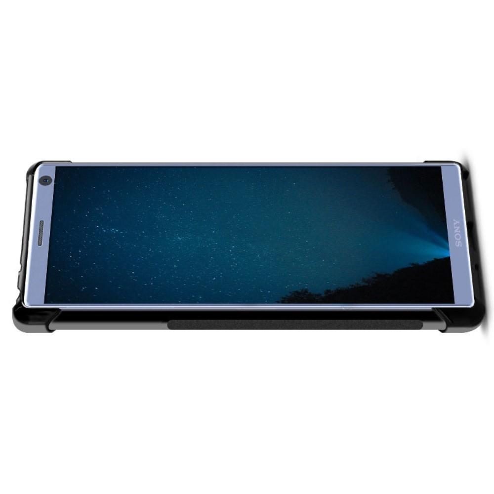 Матовый Силиконовый IMAK Vega Карбоновая Текстура Чехол c Противоударными Углами для Sony Xperia 10 Plus черный