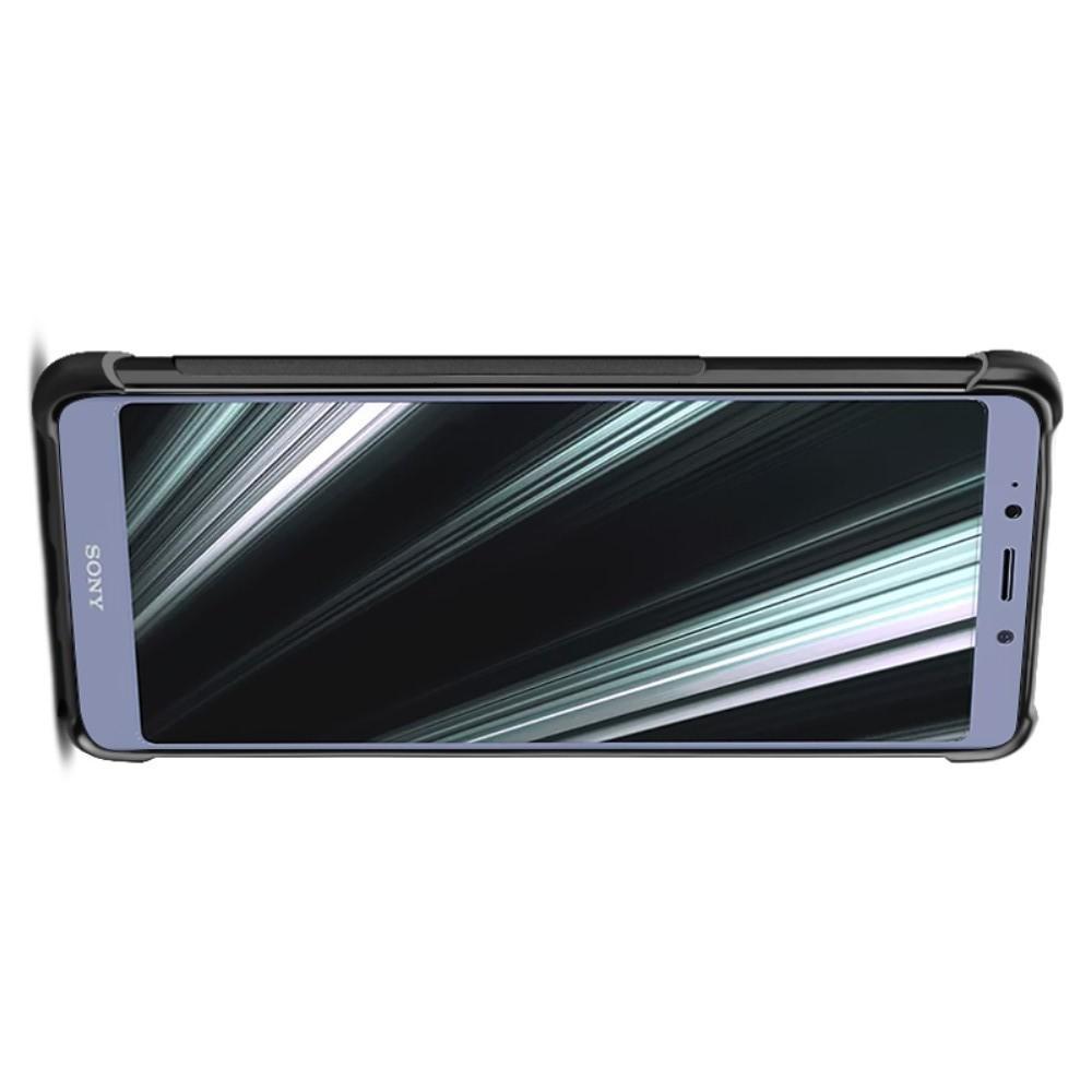 Матовый Силиконовый IMAK Vega Карбоновая Текстура Чехол c Противоударными Углами для Sony Xperia L3 черный