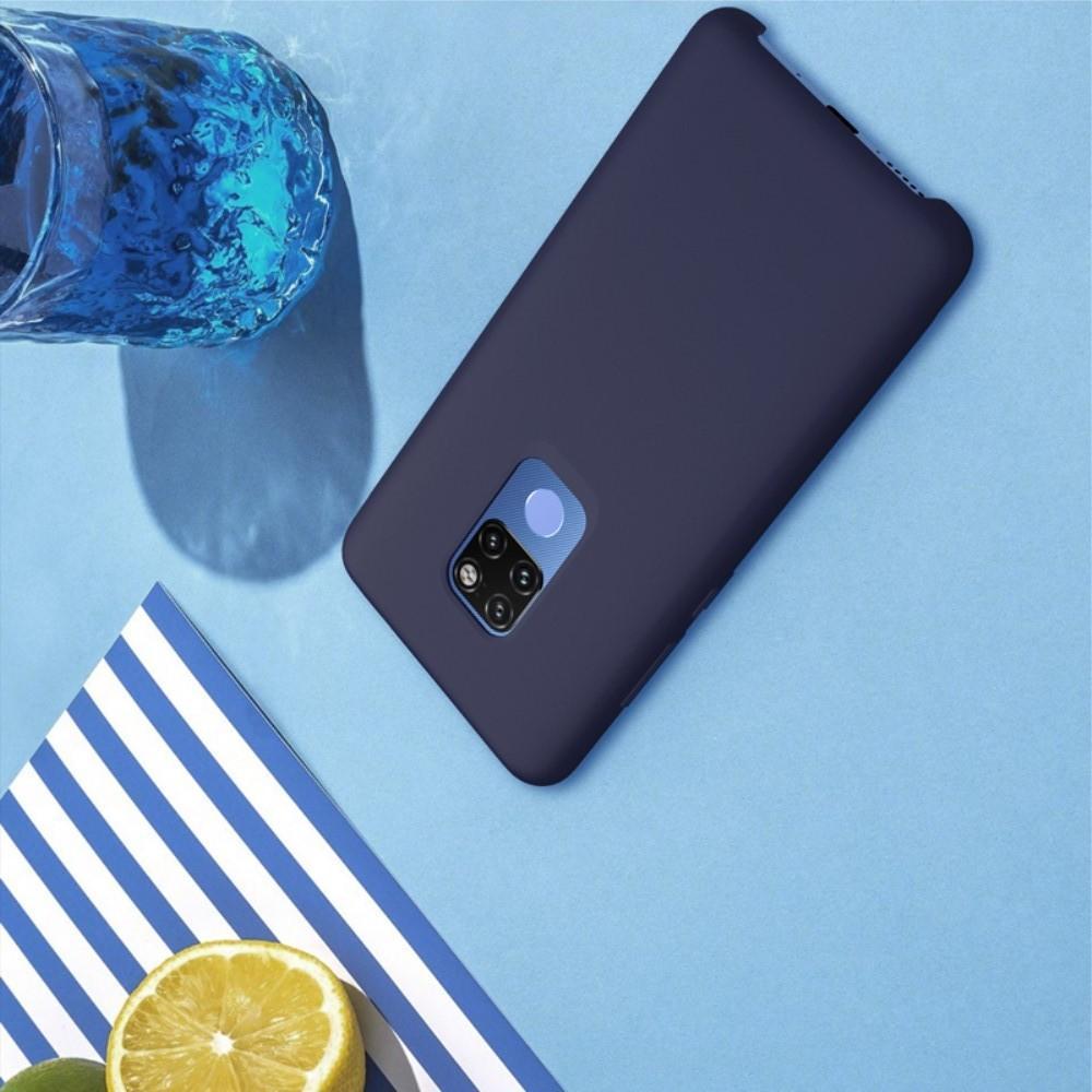 Мягкий матовый силиконовый бампер NILLKIN Flex чехол для Huawei Mate 20 Синий
