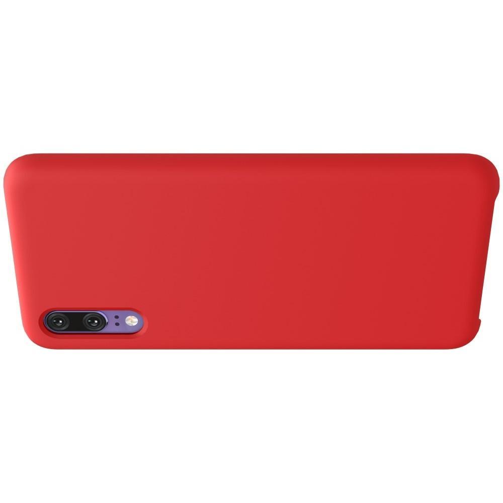 Мягкий матовый силиконовый бампер NILLKIN Flex чехол для Huawei P20 Красный