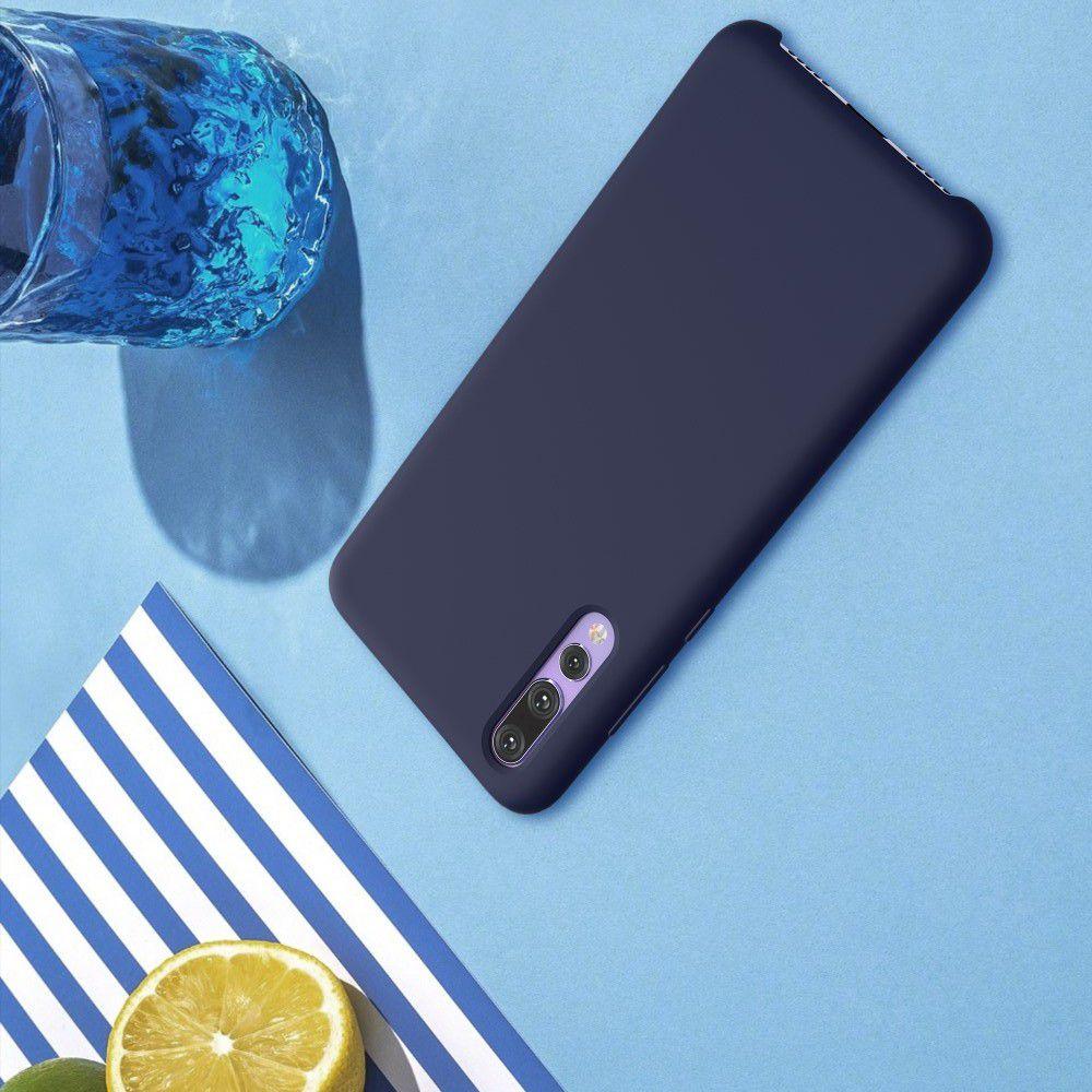 Мягкий матовый силиконовый бампер NILLKIN Flex чехол для Huawei P20 Pro Синий