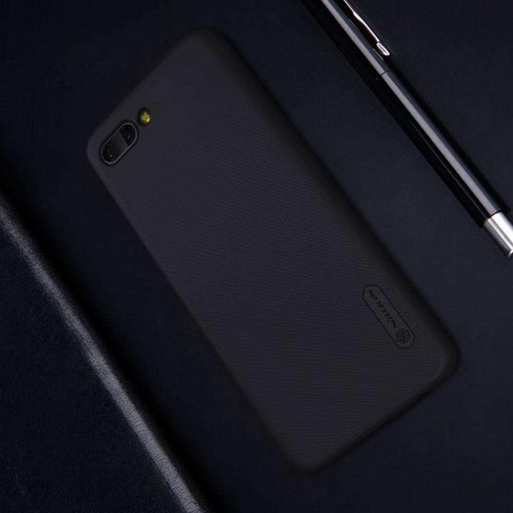 Пластиковый нескользящий NILLKIN Frosted кейс чехол для Huawei Honor 10 Черный + защитная пленка