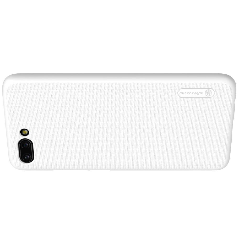 Пластиковый нескользящий NILLKIN Frosted кейс чехол для Huawei Honor 10 Белый + защитная пленка