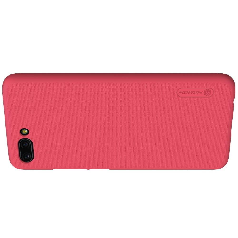 Пластиковый нескользящий NILLKIN Frosted кейс чехол для Huawei Honor 10 Красный + защитная пленка