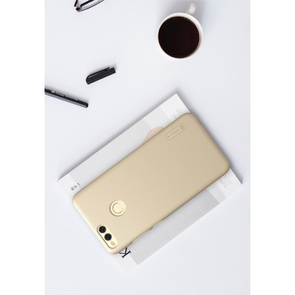 Пластиковый нескользящий NILLKIN Frosted кейс чехол для Huawei Honor 7X Золотой + защитная пленка