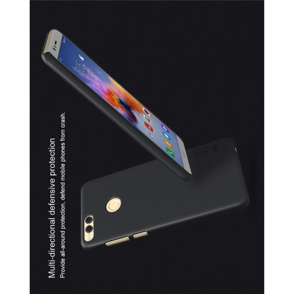 Пластиковый нескользящий NILLKIN Frosted кейс чехол для Huawei Honor 7X Черный + защитная пленка