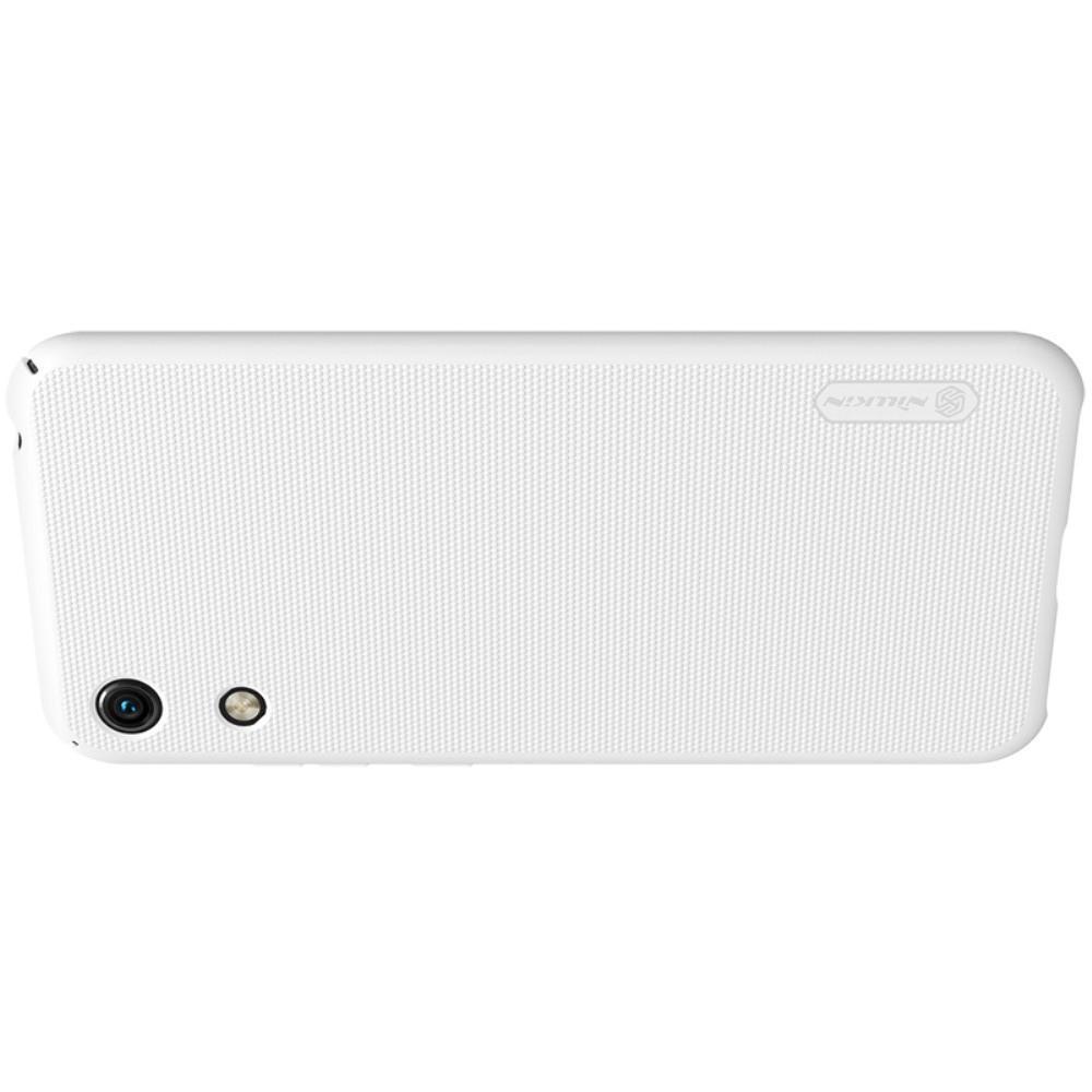 Пластиковый нескользящий NILLKIN Frosted кейс чехол для Huawei Honor 8A Белый + подставка