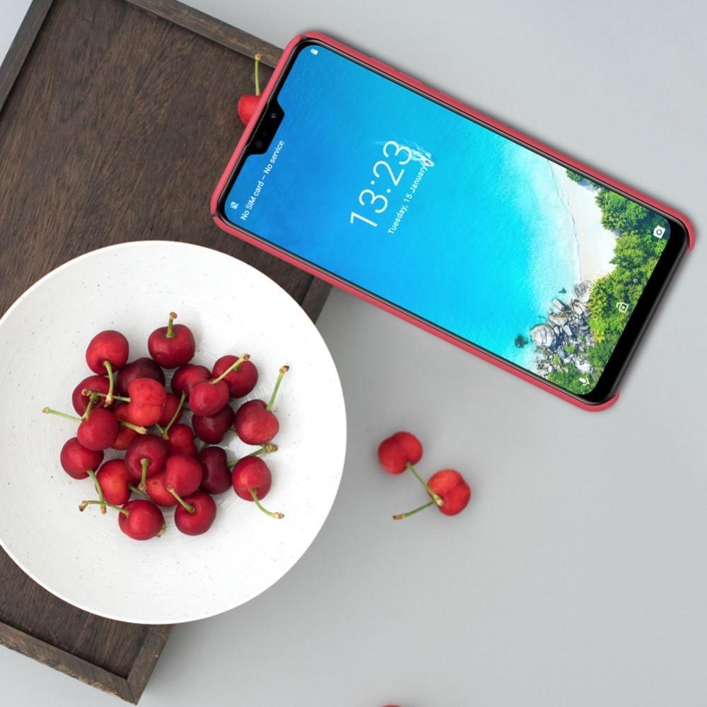 Пластиковый нескользящий NILLKIN Frosted кейс чехол для Huawei Honor 8A Красный + подставка
