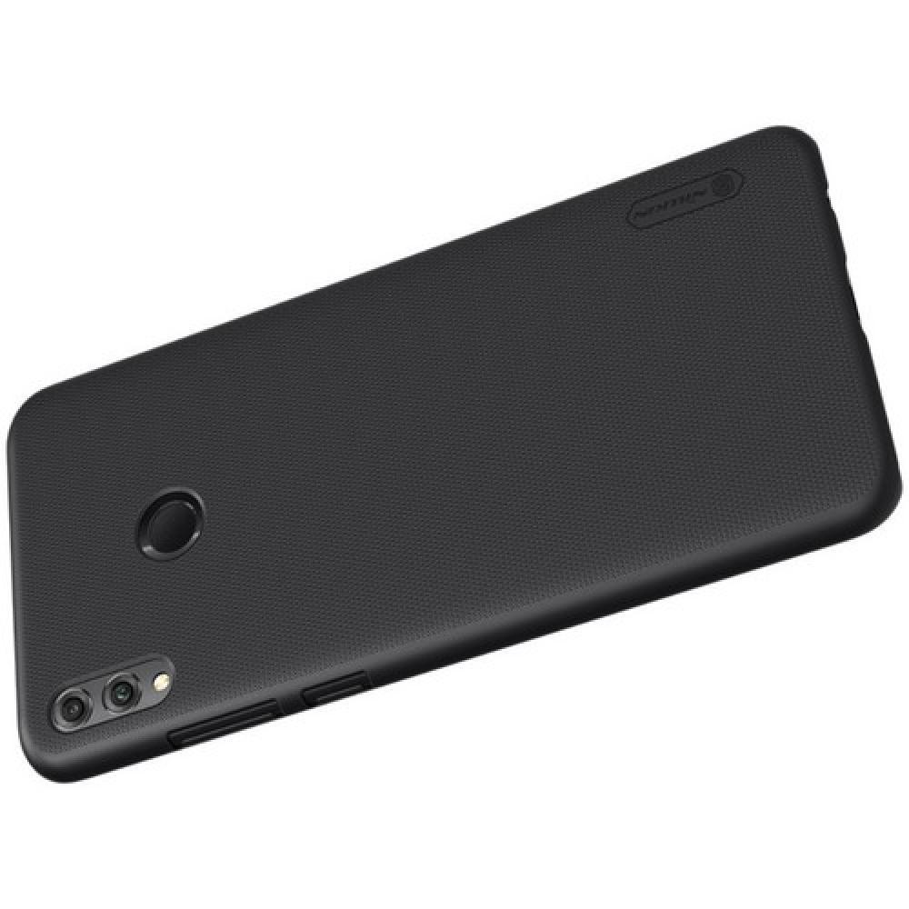 Пластиковый нескользящий NILLKIN Frosted кейс чехол для Huawei Honor 8X Черный + защитная пленка