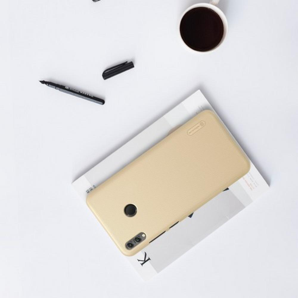 Пластиковый нескользящий NILLKIN Frosted кейс чехол для Huawei Honor 8X Золотой + защитная пленка