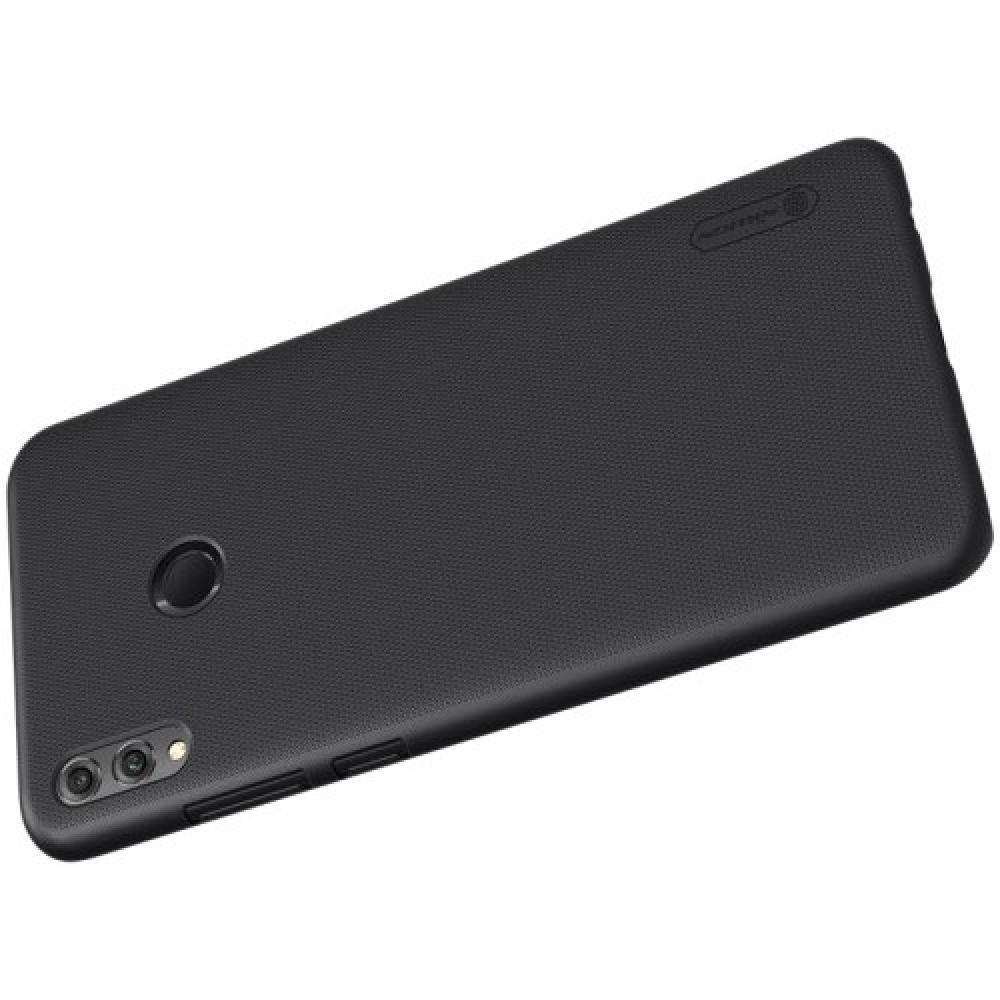 Пластиковый нескользящий NILLKIN Frosted кейс чехол для Huawei Honor 8X Max Черный + защитная пленка