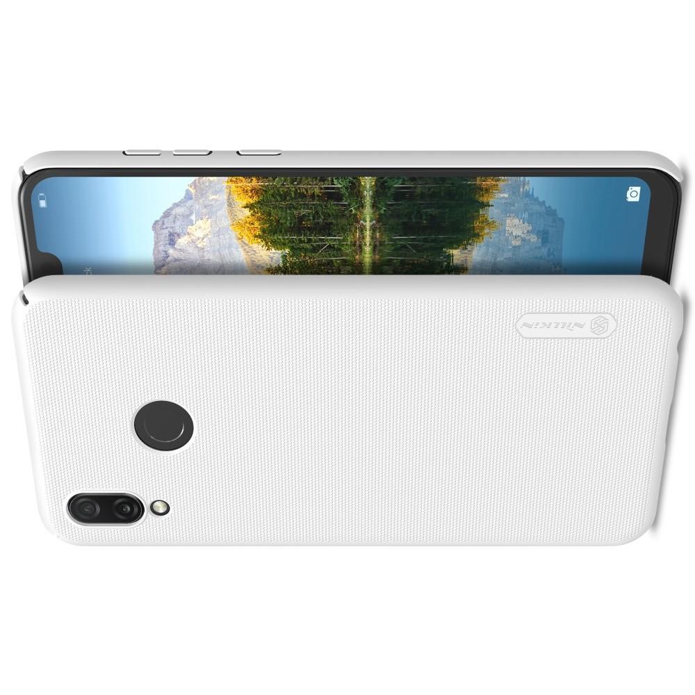 Пластиковый нескользящий NILLKIN Frosted кейс чехол для Huawei Honor Play Белый + защитная пленка