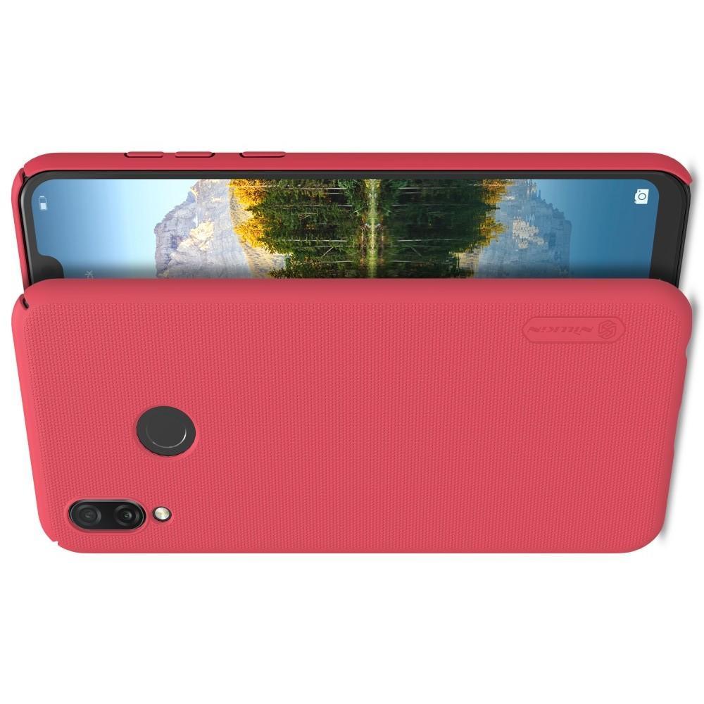 Пластиковый нескользящий NILLKIN Frosted кейс чехол для Huawei Honor Play Красный + защитная пленка