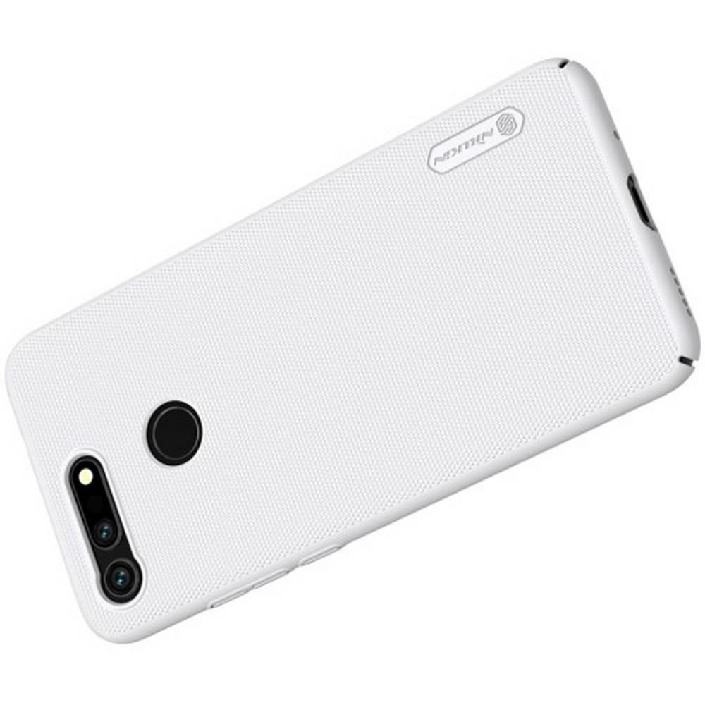 Пластиковый нескользящий NILLKIN Frosted кейс чехол для Huawei Honor View 20 (V20) Белый + защитная пленка