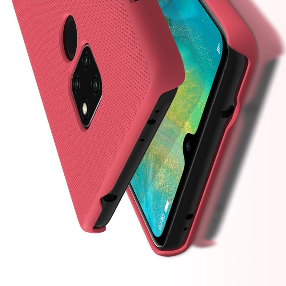 Пластиковый нескользящий NILLKIN Frosted кейс чехол для Huawei Mate 20 Красный + защитная пленка