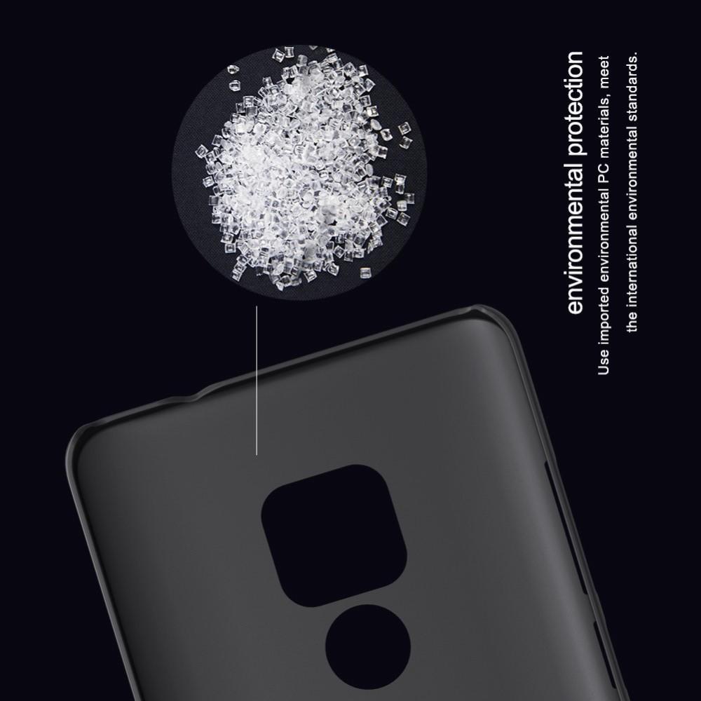 Пластиковый нескользящий NILLKIN Frosted кейс чехол для Huawei Mate 20 Черный + защитная пленка