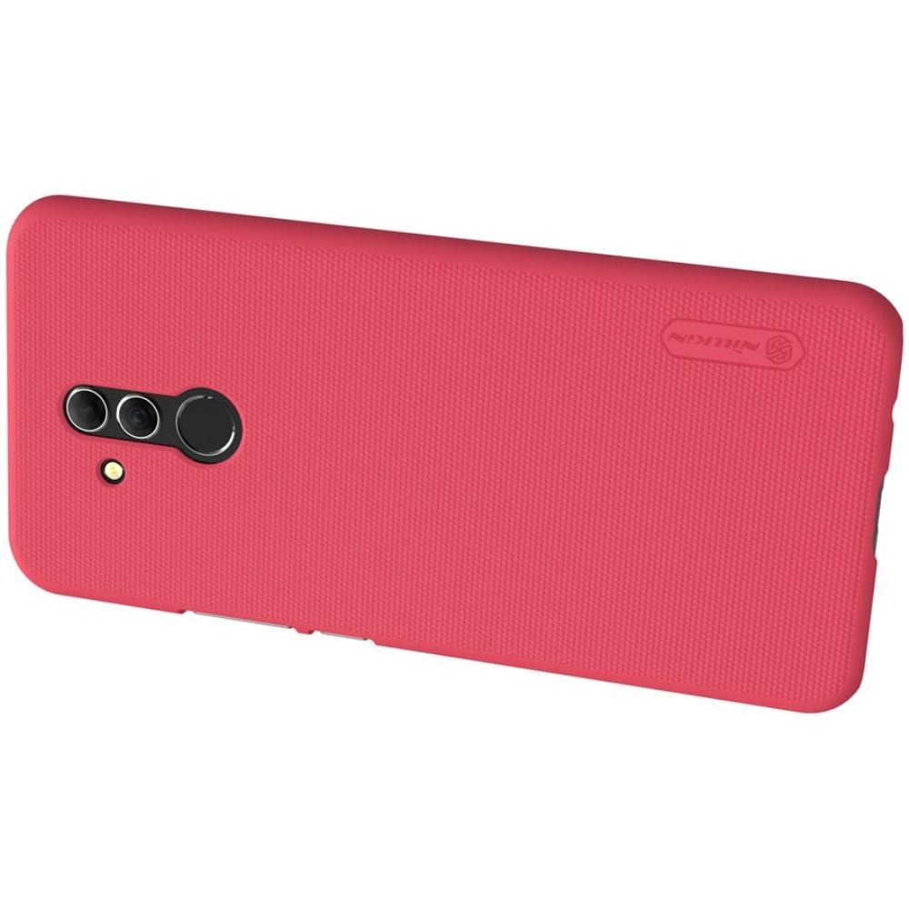 Пластиковый нескользящий NILLKIN Frosted кейс чехол для Huawei Mate 20 Lite Красный + защитная пленка