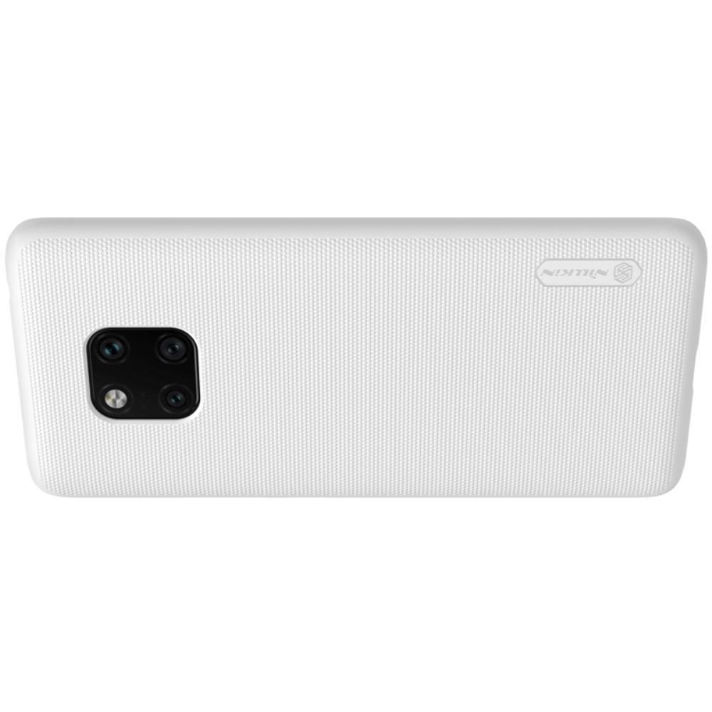 Пластиковый нескользящий NILLKIN Frosted кейс чехол для Huawei Mate 20 Pro Белый + защитная пленка