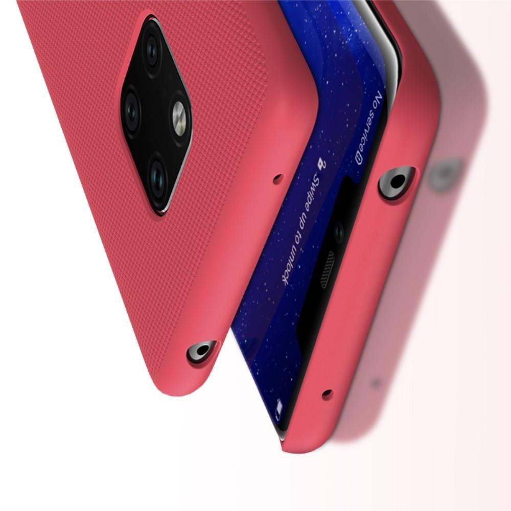 Пластиковый нескользящий NILLKIN Frosted кейс чехол для Huawei Mate 20 Pro Красный + защитная пленка