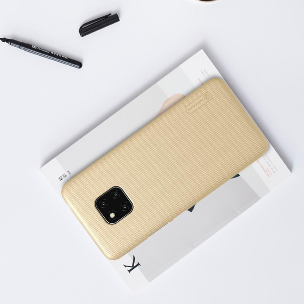 Пластиковый нескользящий NILLKIN Frosted кейс чехол для Huawei Mate 20 Pro Золотой + защитная пленка