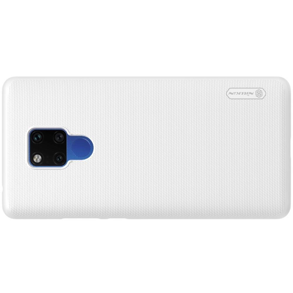 Пластиковый нескользящий NILLKIN Frosted кейс чехол для Huawei Mate 20 X Белый + защитная пленка