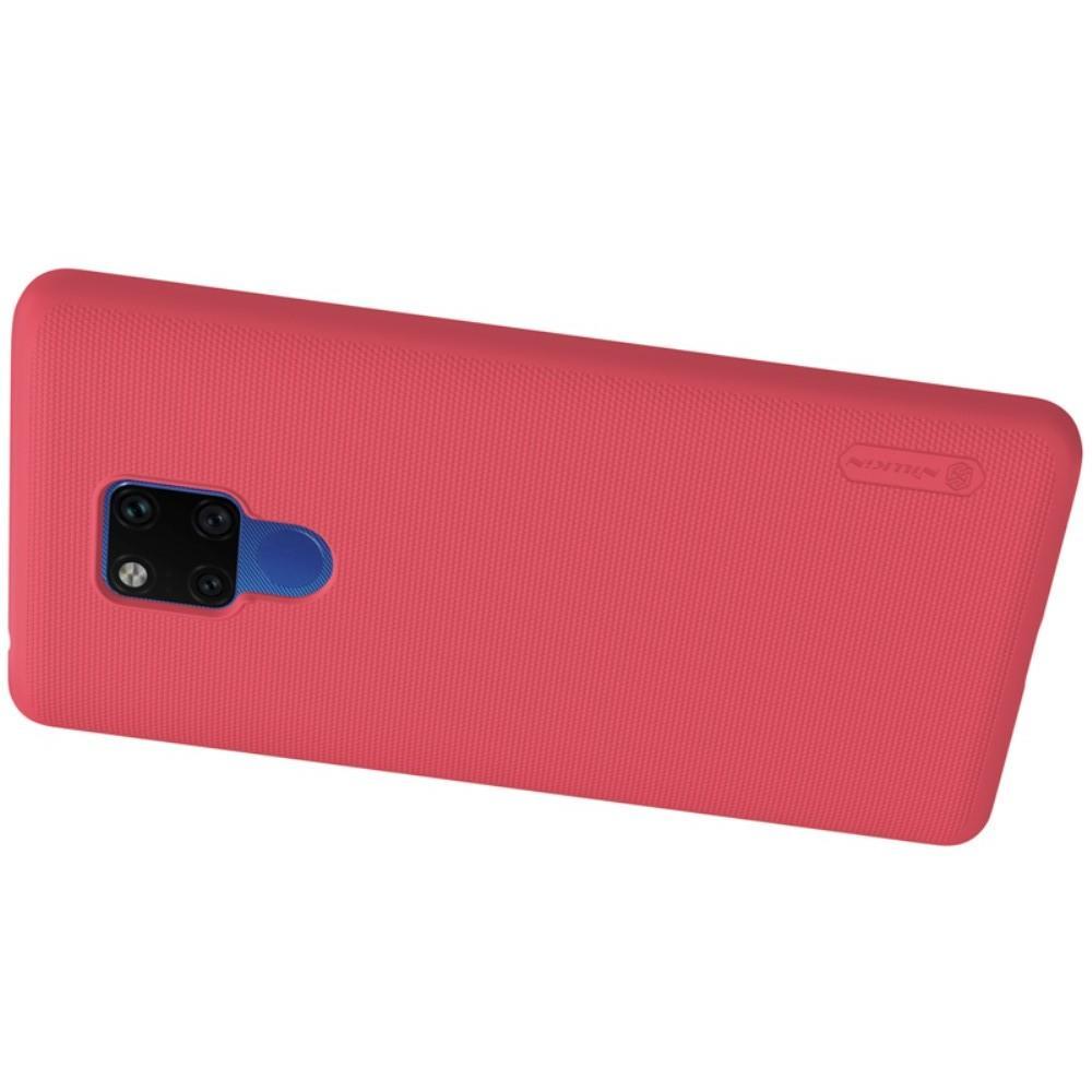 Пластиковый нескользящий NILLKIN Frosted кейс чехол для Huawei Mate 20 X Красный + защитная пленка