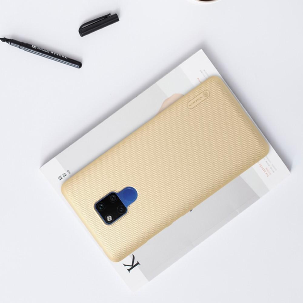 Пластиковый нескользящий NILLKIN Frosted кейс чехол для Huawei Mate 20 X Золотой + защитная пленка
