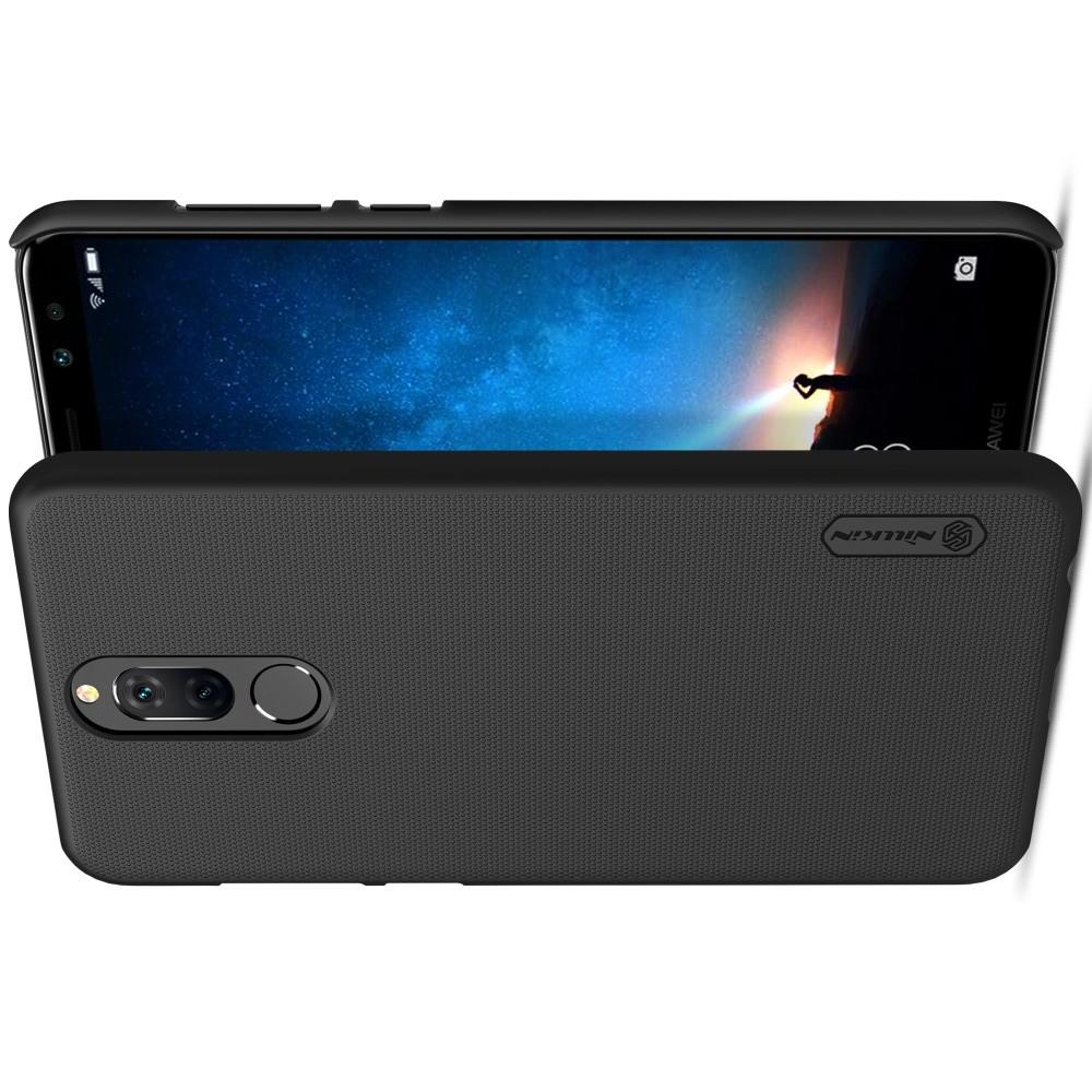 Пластиковый нескользящий NILLKIN Frosted кейс чехол для Huawei Nova 2i / Mate 10 Lite Черный + подставка