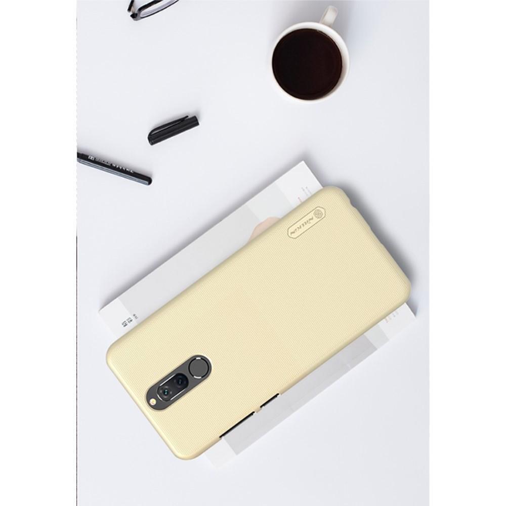 Пластиковый нескользящий NILLKIN Frosted кейс чехол для Huawei Nova 2i / Mate 10 Lite Золотой + подставка