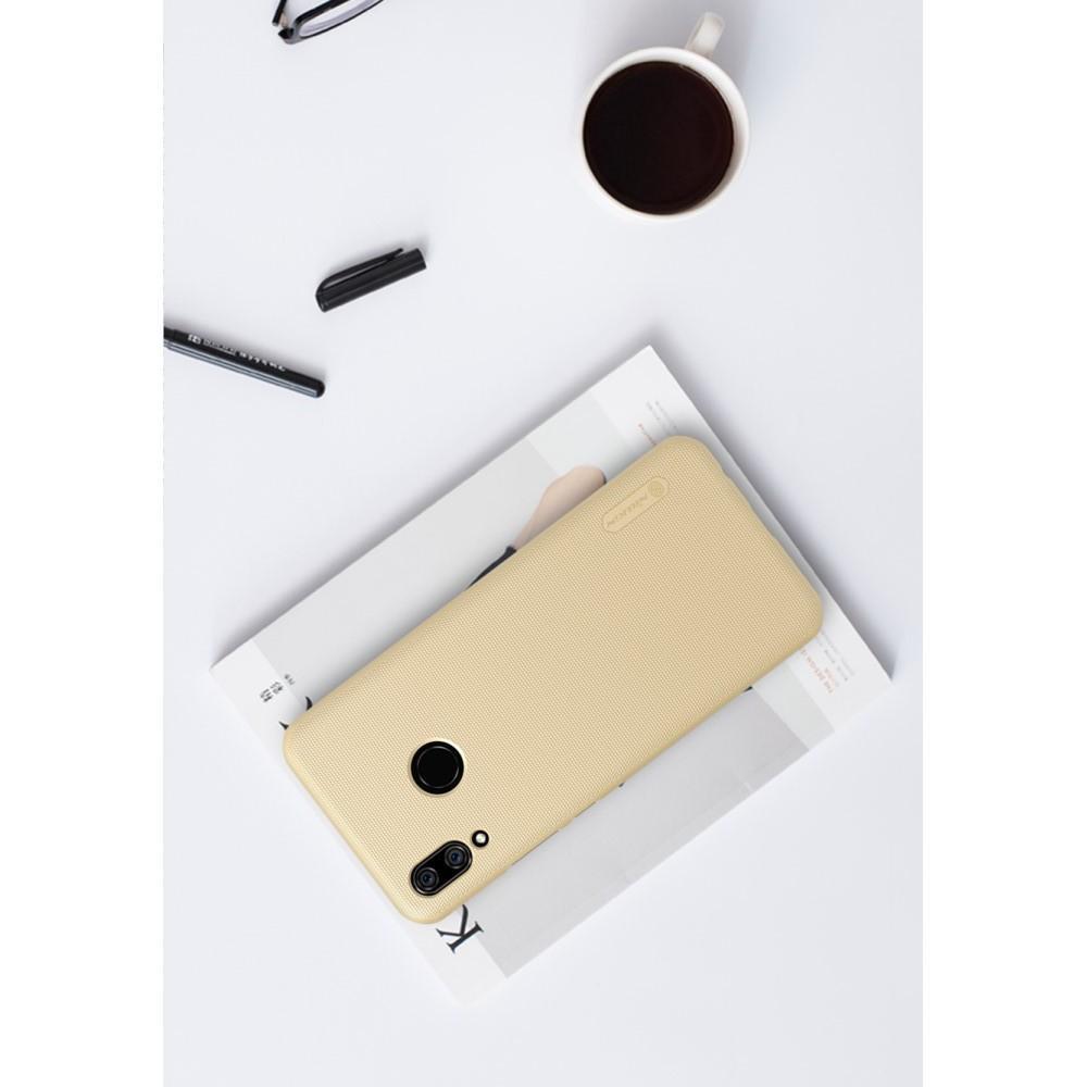 Пластиковый нескользящий NILLKIN Frosted кейс чехол для Huawei nova 3 Золотой + защитная пленка