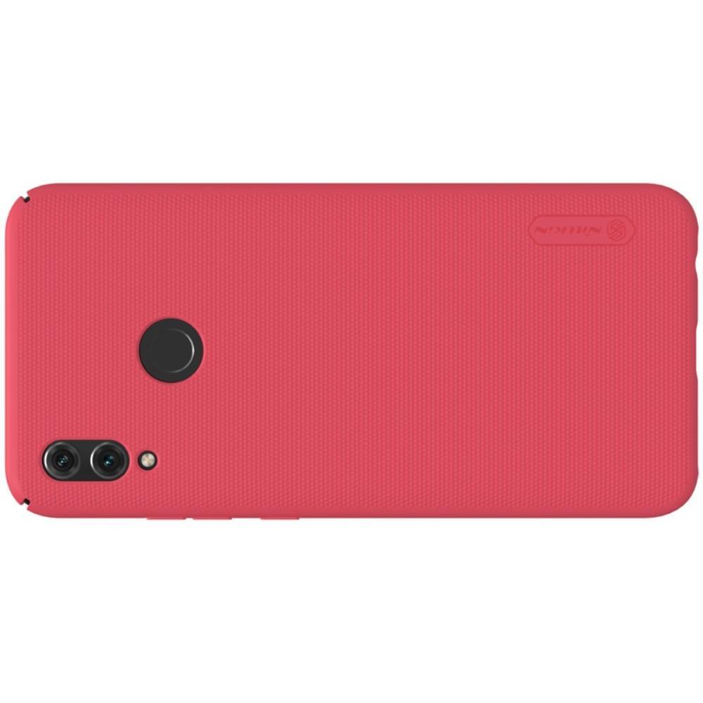 Пластиковый нескользящий NILLKIN Frosted кейс чехол для Huawei P Smart 2019 Красный + защитная пленка
