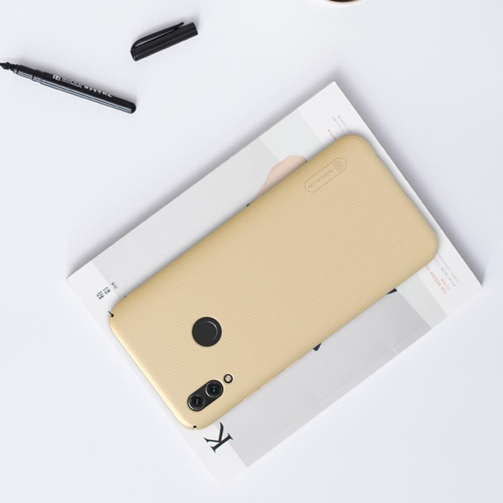Пластиковый нескользящий NILLKIN Frosted кейс чехол для Huawei P Smart 2019 Золотой + защитная пленка