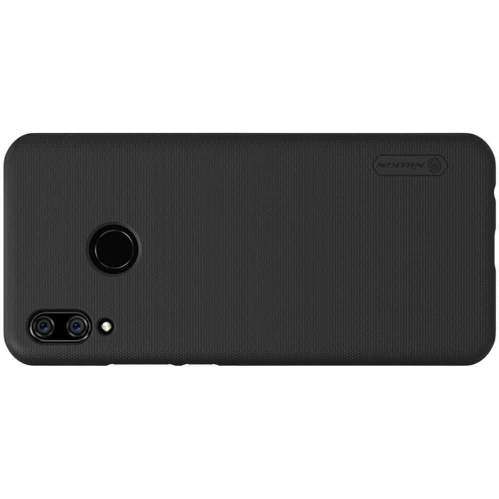 Пластиковый нескользящий NILLKIN Frosted кейс чехол для Huawei P smart+ / Nova 3i Черный + защитная пленка