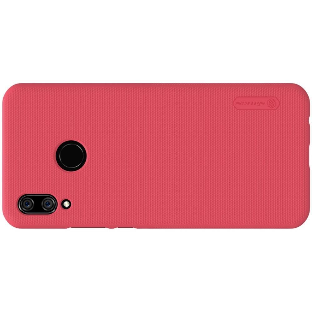Пластиковый нескользящий NILLKIN Frosted кейс чехол для Huawei P smart+ / Nova 3i Красный + защитная пленка