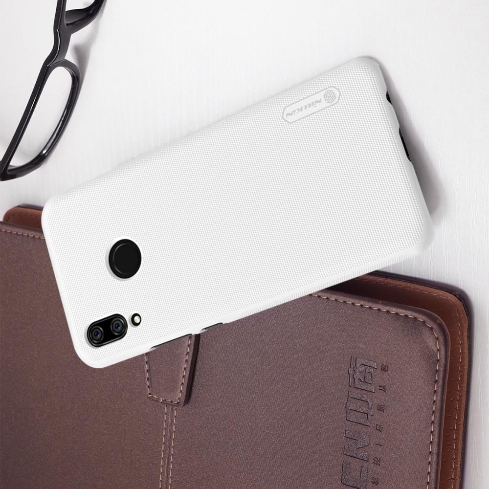 Пластиковый нескользящий NILLKIN Frosted кейс чехол для Huawei P smart+ / Nova 3i Белый + защитная пленка