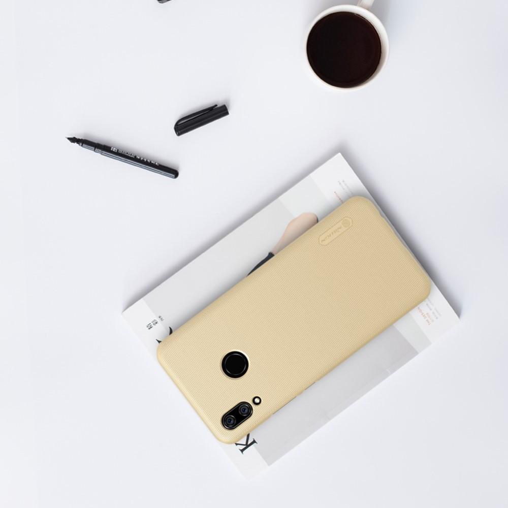 Пластиковый нескользящий NILLKIN Frosted кейс чехол для Huawei P smart+ / Nova 3i Золотой + защитная пленка