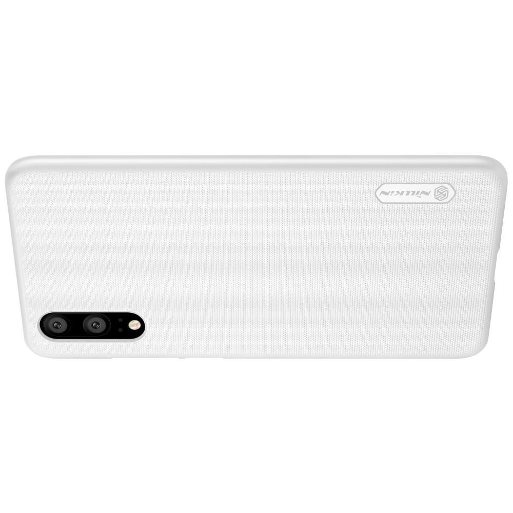 Пластиковый нескользящий NILLKIN Frosted кейс чехол для Huawei P20 Белый + защитная пленка