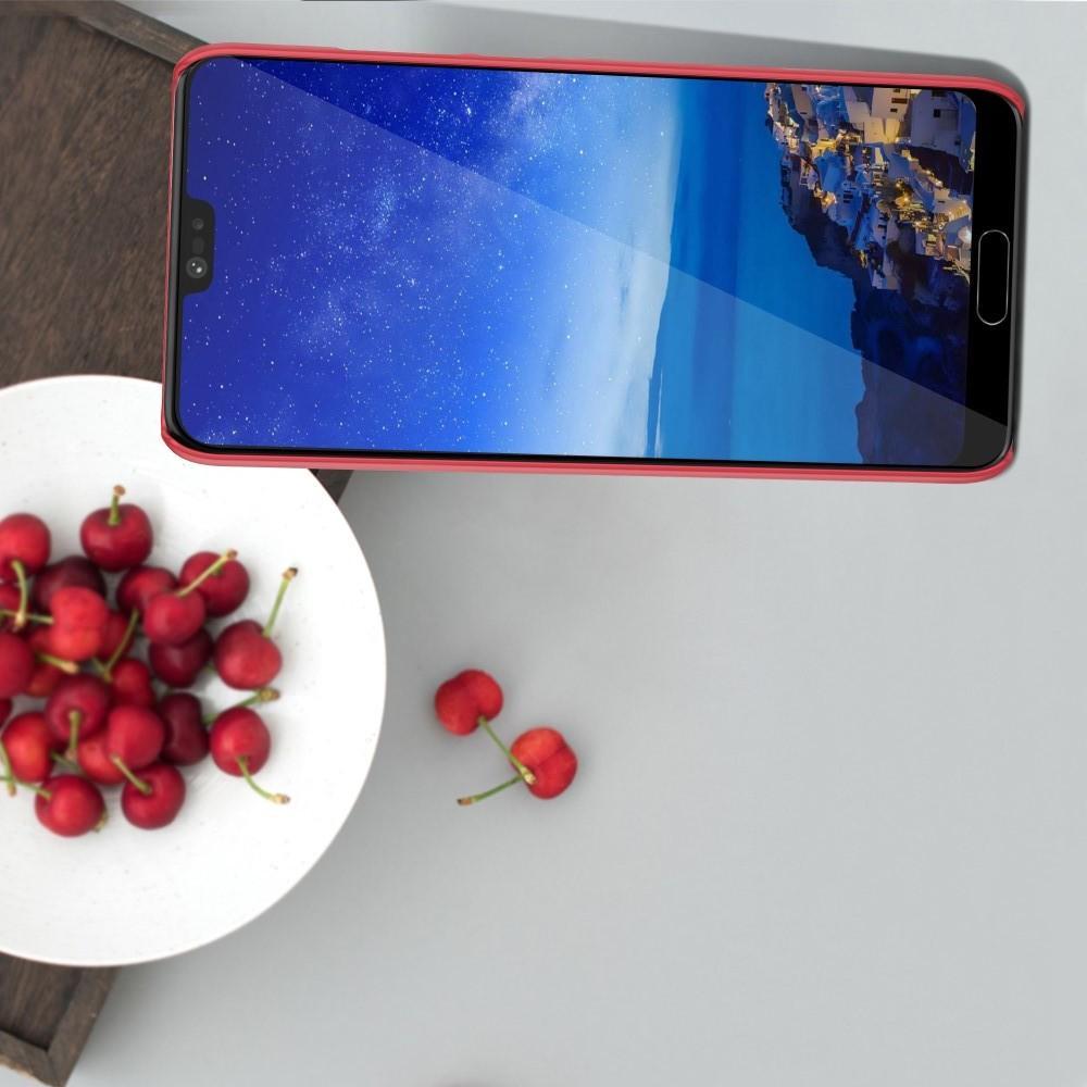 Пластиковый нескользящий NILLKIN Frosted кейс чехол для Huawei P20 Красный + защитная пленка