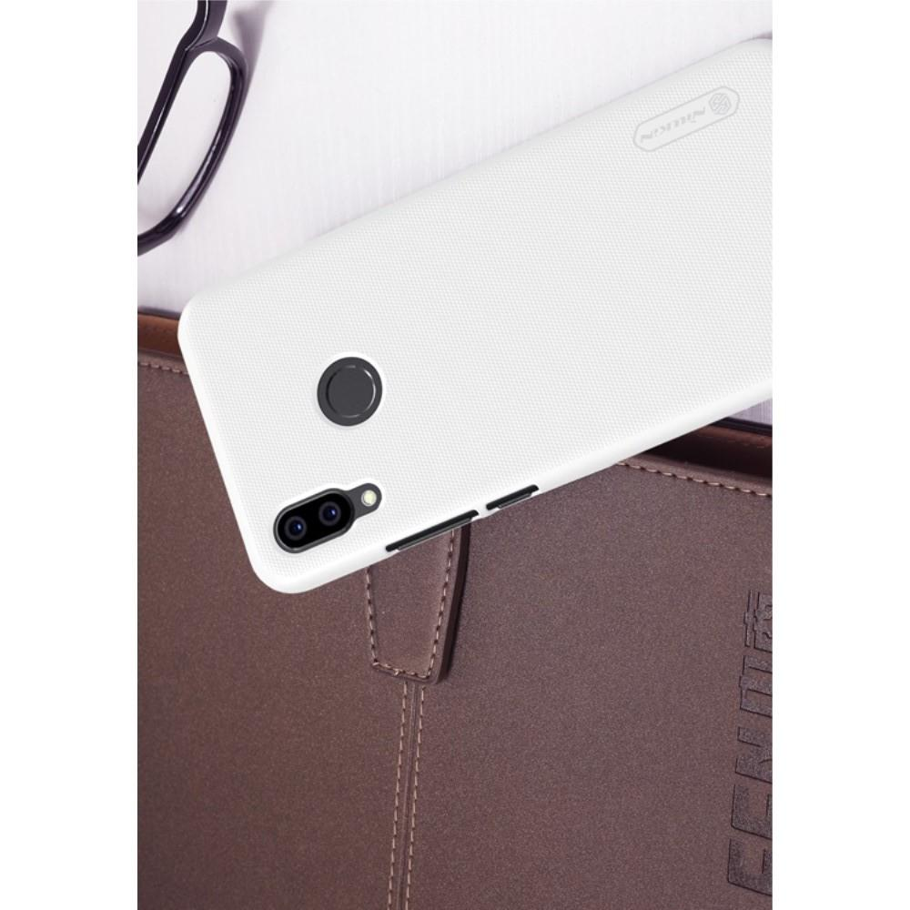 Пластиковый нескользящий NILLKIN Frosted кейс чехол для  Huawei P20 lite Белый + защитная пленка