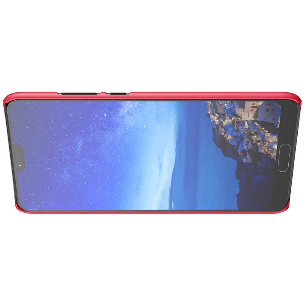 Пластиковый нескользящий NILLKIN Frosted кейс чехол для Huawei P20 Pro Красный + защитная пленка