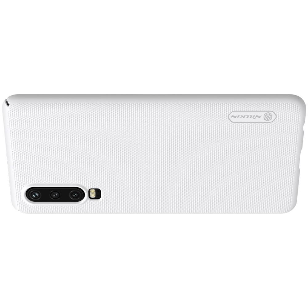 Пластиковый нескользящий NILLKIN Frosted кейс чехол для Huawei P30 Белый + подставка