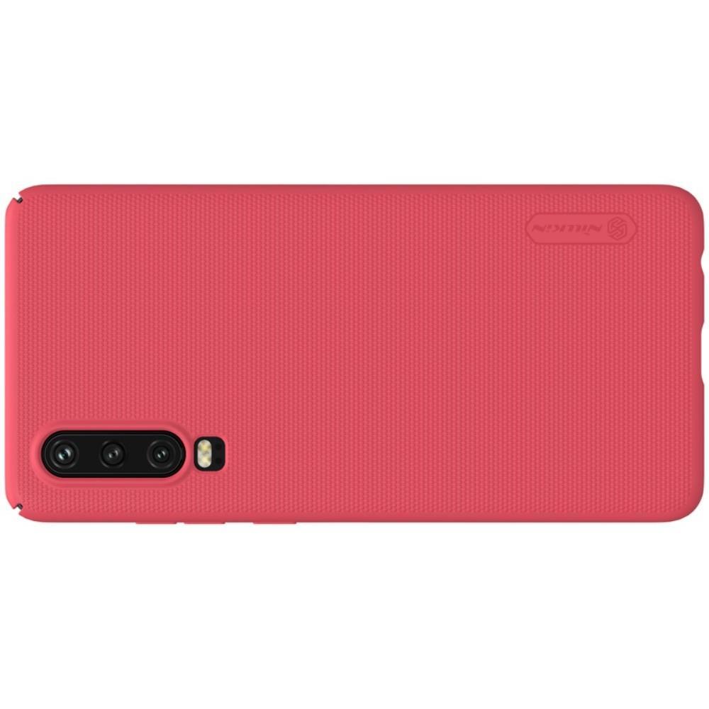 Пластиковый нескользящий NILLKIN Frosted кейс чехол для Huawei P30 Красный + подставка